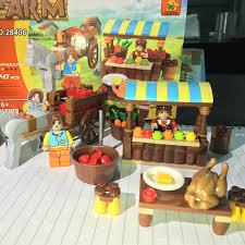 AUSINI <b>Model building kits compatible</b> with lego farmer market 3D ...