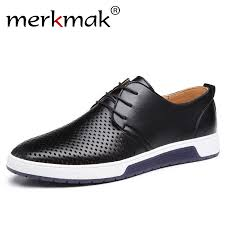 Merkmak New <b>2019 Men Casual</b> Shoes <b>Leather</b> Summer ...