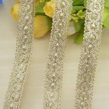 <b>1M</b> Gold <b>Sequined Lace</b> Band Cosplay clothing ironing Braid Ribbon