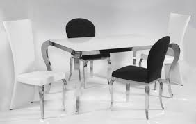 black and white dining table set: chintaly modern pc super white glass top dining table set pu chairs