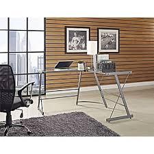 glass l shaped office desk. altra odin glass lshaped computer desk gray l shaped office