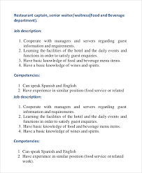 senior waiter job description waiter job description