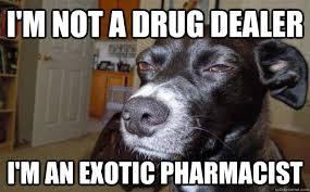 I'm not a drug dealer I'm an Exotic pharmacist - Skeptical Mutt ... via Relatably.com
