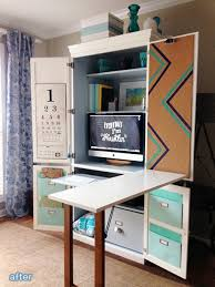repurpose of my old armoire it would be a good place to store fabric and craft supplies plus have a fold out desk like that for when were both working on armoire office