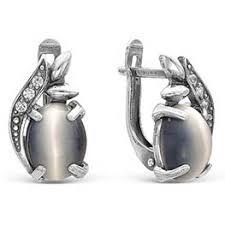 Серьги с <b>кошачьим</b> глазом в серебре: цена, каталог, стоимость ...