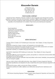 resume templates heavy machinery operator resume sample resume heavy equipment operator