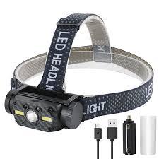 BORUIT 10W 800LM L2+2xCOB Headlamp <b>Power</b> Display 10 ...