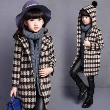 <b>Autumn Winter girls</b> jackets Outerwear Children Plaid Hooded ...