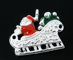 <b>10 Pcs Silver Plated Enamel</b> Christmas Santa Claus Charms ...