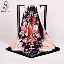 Online Shop [BYSIFA] Chinese Roses <b>Square Scarves</b> New Design ...