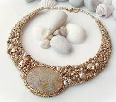 Beaded Embroidery Wedding <b>Necklace</b> Jewelry Statement Bridal