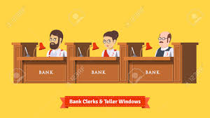 bank cashier stock illustrations cliparts and royalty bank cashier three bank clerks at work teller windows working professionals flat