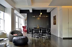 eames office chair dining room eclectic with black black leather pouf animal hide rugs home office traditional