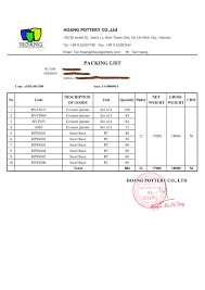 order guidelines hoang pottery example of full shipping document to