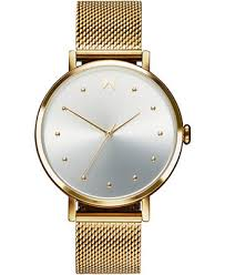 <b>Women's</b> Dot <b>Flash</b> Gold Ion-Plated Steel Mesh Bracelet <b>Watch</b> 36mm