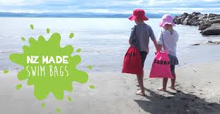 <b>Swim Bags</b> for Cool Kids. NZ Made Personalised Drawstring Bags