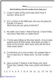 First Grade Word Problems WorksheetsD. Russell. Worksheet ...