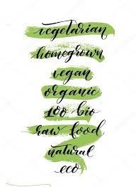 Handwritten words - <b>vegetarian</b>, homegrown, <b>vegan</b>, organic, <b>100</b> ...