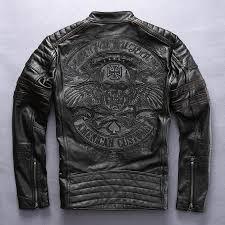 Factory 2019 <b>Men Retro Vintage</b> Leather Biker Jacket Embroidery ...