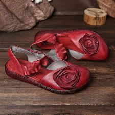 SOCOFY Genuine Leather <b>Handmade</b> Floral Soft Sole <b>Elastic</b> Band ...
