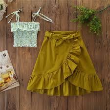 <b>Girls</b> Print Sling Top + <b>Irregular</b> Long Skirt Two-<b>Piece</b> Set | Shopee ...