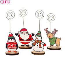 <b>QIFU</b> Christmas <b>Wooden</b> Note Clip Santa Claus Snowman Craft ...
