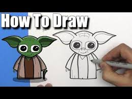 How To Draw <b>Cute Cartoon Yoda</b> -EASY CHIBI - Step By Step | Star ...