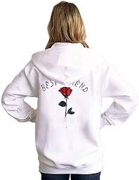 <b>Women's Hoodies</b> Top Cute <b>Rose Flower Printed</b> Best Friends ...