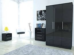 toronto caspian black or white high gloss bedroom furniture complete 3 piece set or seperate 3 black or white furniture