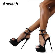Aneikeh New <b>2019</b> Fashion <b>Peep Toe High</b> heeled Sandals Sexy ...