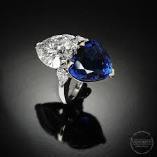 Sapphire and diamond ring CUORE DOPPIO