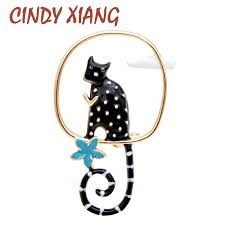 <b>CINDY XIANG</b> White With Black Spot Cat Brooches Playing on Tree ...