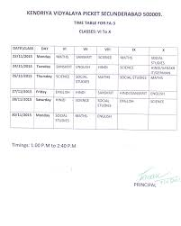 kendriya vidyalaya picket time table for fa 3 for classes vi to x