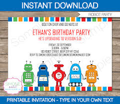 robot party invitations template birthday party robot party invitations birthday party editable diy theme template instant 7 50 via