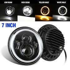 <b>7 inch</b> 80W Round LED Headlight Halo <b>Daytime Running Light</b> Fit ...