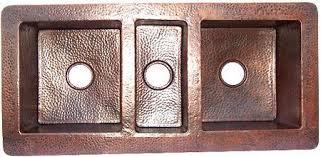 hammered copper kitchen sink: triple bowl hammered copper kitchen sink