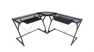 glass corner l shaped desk by regency furniture black glass office desk 1