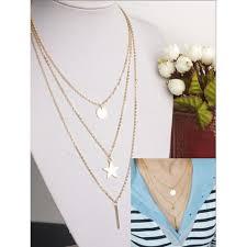 <b>SUKI</b> Metal Round Linf of the Tree <b>Star</b> Multi Necklace Gold Plate ...