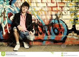 Young Guy Against <b>Graffiti</b> Wall. - Download From Over 43 Million ...