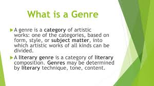 genre essay mrs duffey 8c ela what is a genre  a genre is a what is a genre  a genre is a category of artistic works one of