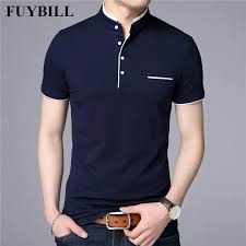 FuyBill Mandarin Collar Short Sleeve Tee Shirt Men <b>2018 Spring</b> ...