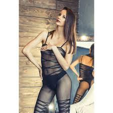 Черный костюм-сетка с <b>имитацией</b> боди и чулок OS, 35172 ...