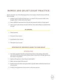 romeo essayromeo and juliet  essay practice romeo and juliet essay practice choose and answer one of