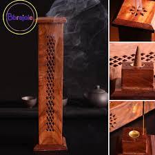 BB*<b>Hollow</b> Wood <b>Incense</b> Burner Stand Stick Holder Tower <b>Box</b> ...