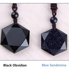 2019 <b>Drop Shipping</b> Blue Sandstone Black <b>Obsidian Pendant</b> ...