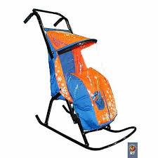 <b>Санки</b>-<b>коляска Снегурочка</b> 2-Р1 – Снежинки, голубой-оранжевый ...
