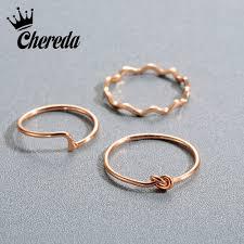 <b>Chereda</b> Copper Rings Wave Simple Jewelry Minimalism Tie Ring ...