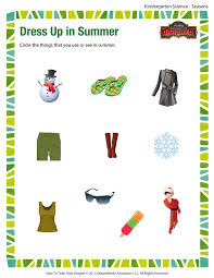 Dress Up in Summer – Free Science Printable Worksheets and PDFsDress up in Summer - Printable Science Worksheets for Kindergarten