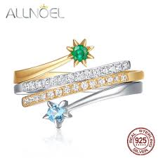 <b>ALLNOEL Solid 925 Sterling</b> Silver Gold Ring For Women 100 ...
