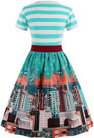 Babyonline <b>Women Vintage Dresses</b> with Sleeves <b>Striped</b> Evening ...